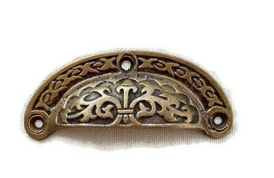 4 engraved shell shape pulls handles heavy solid brass old style drawer 9 cm B 6