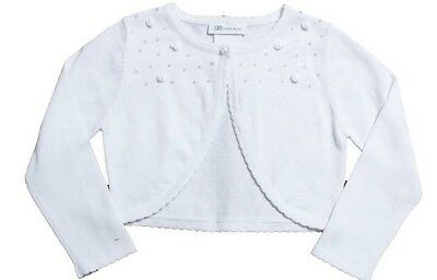 NWT Bonnie Jean Girls 4-5 White Rosette Knit Long Sleeve Cotton Cardigan Sweater