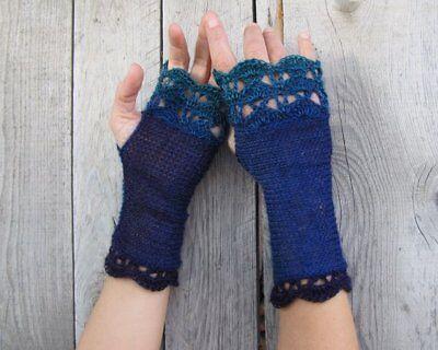 Handmade Knit Wool Fingerless Womens Gloves Crochet Edges denim indigo turquoise 2