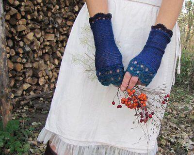 Handmade Knit Wool Fingerless Womens Gloves Crochet Edges denim indigo turquoise 3