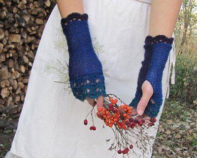 Handmade Knit Wool Fingerless Womens Gloves Crochet Edges denim indigo turquoise 4
