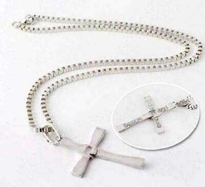 Cross Pendant Necklace Silver Stainless Steel Unisex's Chain Crucifix Men Women 12