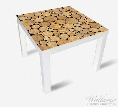 Wallario Aufkleber für Ikea Malm 4 Schub Dunkler Holzstapel rund Kamin Ofen rund