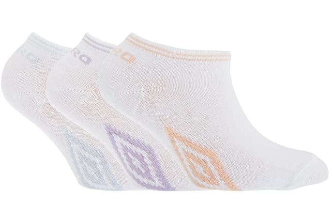 UMBRO Official Girls' Trainer Liner Socks 3-Pack White Cotton Age 4-16 Years 2