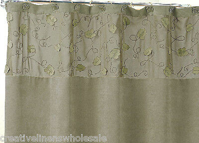 1 Of 2 Morning Leaf Suede Fabric Shower Curtain Sage Green New Creative Linens