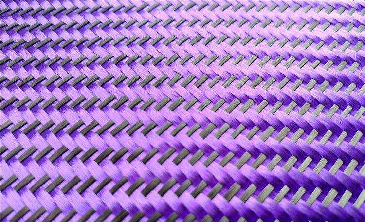 Black+ Purple Aramid Carbon Fiber Blended Fabric Carbon Fixed cloth Twill weave 3
