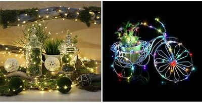20/30/100 LED Battery Micro Rice Wire Copper Fairy String Lights Party White RO 7