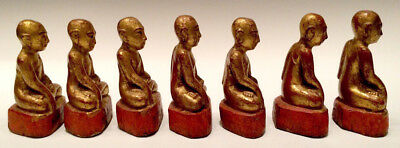 19th Century, Mandalay, A Set of Antique Burmese Wooden Seated Disciples 9