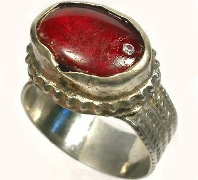 "Intricate 18thC Crimean Tatar Silver Alloy Ruby Red Glass ""Gemstone"" Ring Sz 10 2"