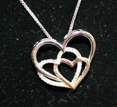 "XPY 14k Rose Gold/Sterling Silver, Diamond Triple Heart Pendant, 18"" Chain 3"