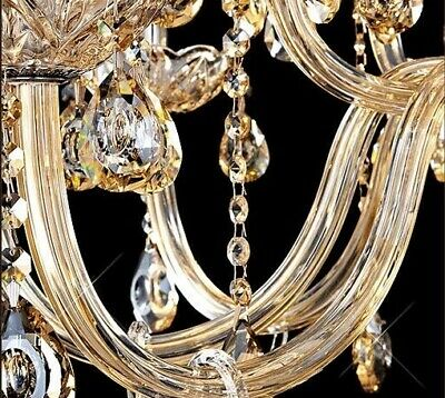Antique Big European Italian French CHANDELIER K9 Crystal Amber Gold 15 ARM Lite 3