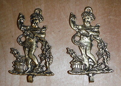 "2 Antique Gold Gilt Hook Hardware Cherub Grapes Wine - 2.75"" Jewelry Hanger 2"