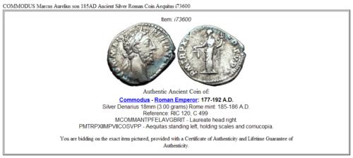COMMODUS Marcus Aurelius son 185AD Ancient Silver Roman Coin Aequitas i73600 3