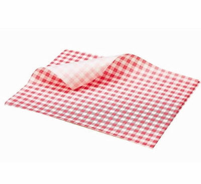 "50 x Sheets RED Gingham Duplex Paper 10""x 15"" Food Wrap Greaseproof Basket Liner 2"