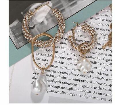 Zara Gold Ornate Pearl HOOP Crystal Drop Statement Pair Earrings