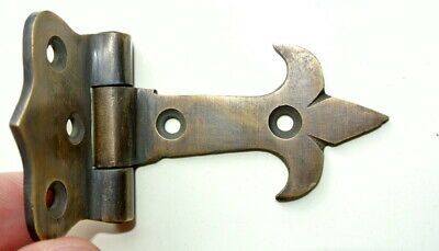 """4 very small aged solid Brass 8 cm DOOR hinges vintage antique style heavy 3"""" B 9"""