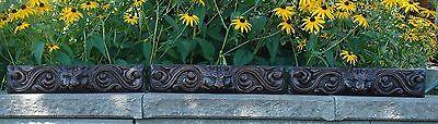 19C English Salvage Set 3 Carved Gothic Oak Griffin/Gargoyle Drawer-Front Panels 2