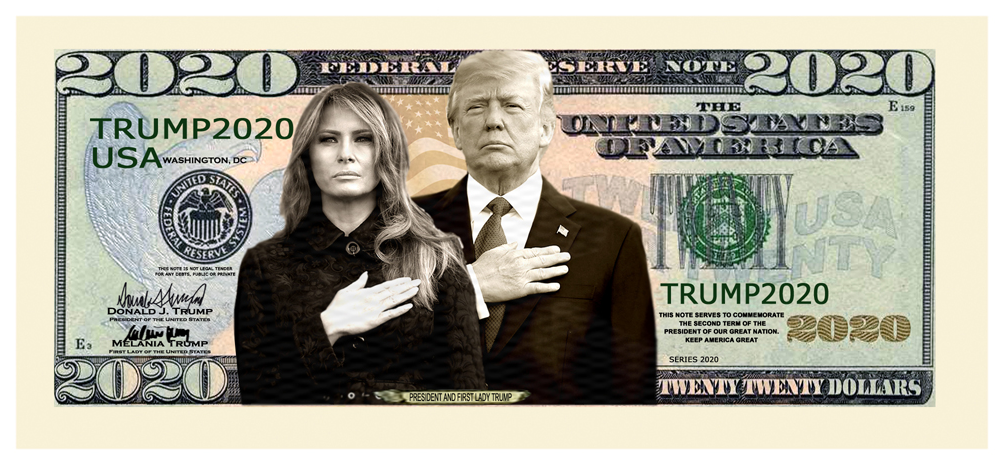 Donald Trump Melania 2020 First Couple Dollar Bill Presidential MAGA with Holder 2