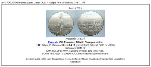 1971 FINLAND European Athletic Games TRACK Antique Silver 10 Markkaa Coin i71395