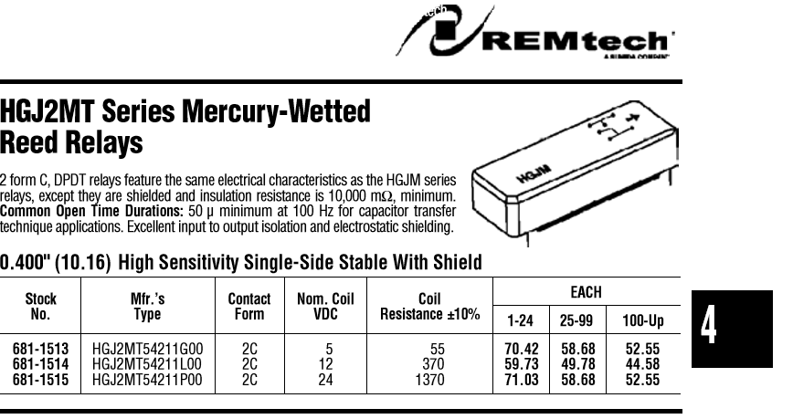 GI Clare HGJ2MT-54211-GOO DPDT Mercury Wetted Relays