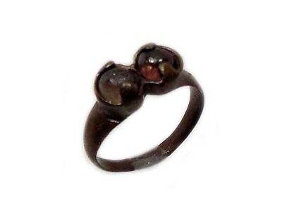 Roman Provincial Lycia Bronze Ring Two Original Glass Quartz Gemstones AD100 Sz8 2