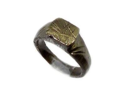Genuine Roman Celtic Engraved Abstract Floral Motif Bronze Ring Size 7¾ AD300 3