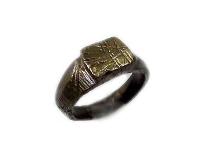 Genuine Roman Celtic Engraved Abstract Floral Motif Bronze Ring Size 7¾ AD300 2