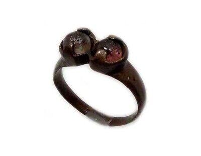 Roman Provincial Lycia Bronze Ring Two Original Glass Quartz Gemstones AD100 Sz8 3