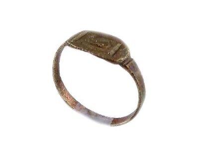 AD400 Roman Thrace Bulgaria Engraved Intaglio Bronze Ring Sz7 Grain Galley Ship 7