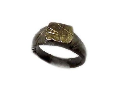 Genuine Roman Celtic Engraved Abstract Floral Motif Bronze Ring Size 7¾ AD300 9