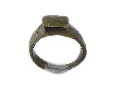 Genuine Roman Celtic Engraved Abstract Floral Motif Bronze Ring Size 7¾ AD300 8