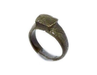 Genuine Roman Celtic Engraved Abstract Floral Motif Bronze Ring Size 7¾ AD300 6