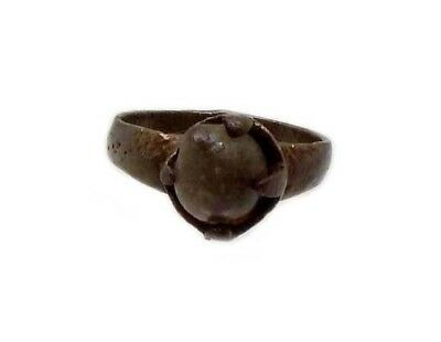 Roman Provincial Lycia Bronze Ring Original Glass Quartz Gemstone AD100 Size 6¾ 5