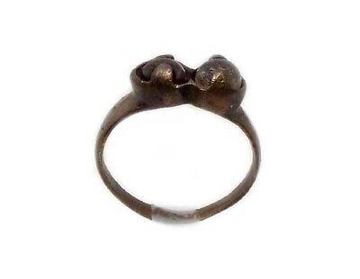 Roman Provincial Lycia Bronze Ring Two Original Glass Quartz Gemstones AD100 Sz8 7
