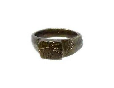 Genuine Roman Celtic Engraved Abstract Floral Motif Bronze Ring Size 7¾ AD300 4