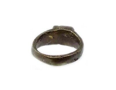 Genuine Roman Celtic Engraved Abstract Floral Motif Bronze Ring Size 7¾ AD300 10
