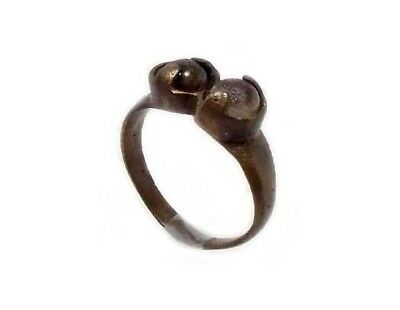 Roman Provincial Lycia Bronze Ring Two Original Glass Quartz Gemstones AD100 Sz8 5