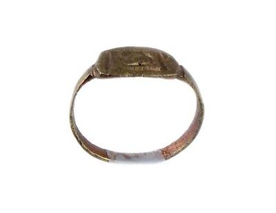 AD400 Roman Thrace Bulgaria Engraved Intaglio Bronze Ring Sz7 Grain Galley Ship 9