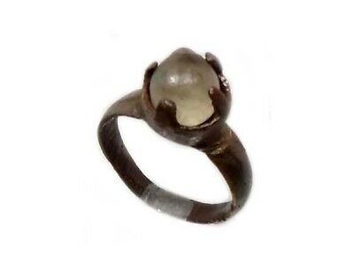Roman Provincial Lycia Bronze Ring Original Glass Quartz Gemstone AD100 Size 6¾ 3