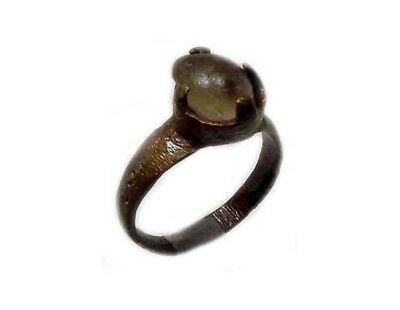 Roman Provincial Lycia Bronze Ring Original Glass Quartz Gemstone AD100 Size 6¾ 2