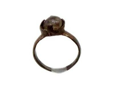 Roman Provincial Lycia Bronze Ring Original Glass Quartz Gemstone AD100 Size 6¾ 7