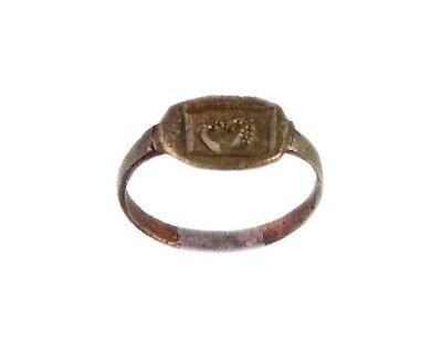 AD400 Roman Thrace Bulgaria Engraved Intaglio Bronze Ring Sz7 Grain Galley Ship 2