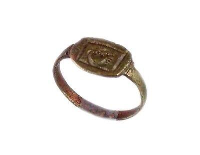 AD400 Roman Thrace Bulgaria Engraved Intaglio Bronze Ring Sz7 Grain Galley Ship 5
