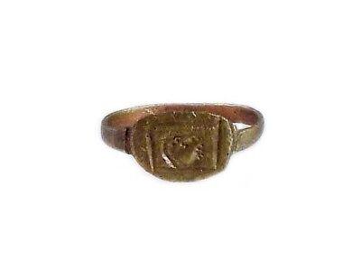 AD400 Roman Thrace Bulgaria Engraved Intaglio Bronze Ring Sz7 Grain Galley Ship 6