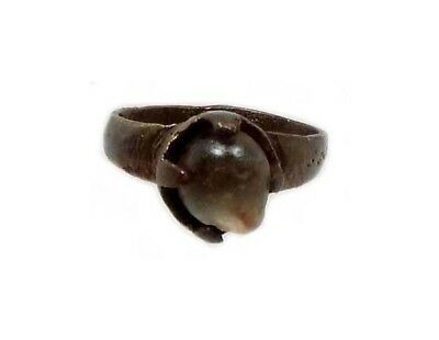 Roman Provincial Lycia Bronze Ring Original Glass Quartz Gemstone AD100 Size 6¾ 4