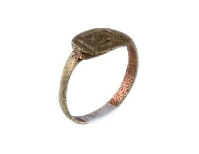 AD400 Roman Thrace Bulgaria Engraved Intaglio Bronze Ring Sz7 Grain Galley Ship 8