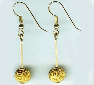 Gold Earrings Antique Russian 22kt Near East Crete Minoan Greek Granulated Style 2