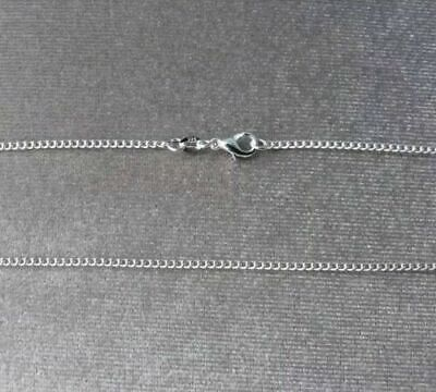 Genuine 925 Solid Silver Curb Chain Necklace Lobster Clasp All Inch 16000Sold 2