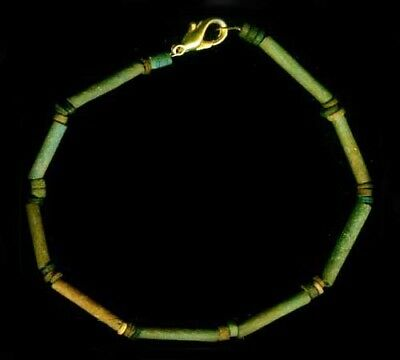BC600 Ancient Egypt Turquoise Color Faience Ceramic Proto-Glass Bracelet Jewelry 2