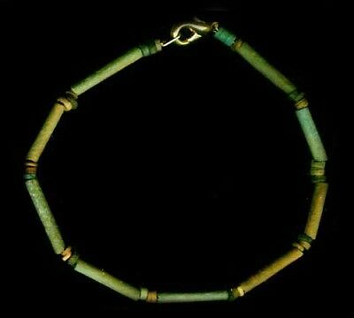 BC600 Ancient Egypt Turquoise Color Faience Ceramic Proto-Glass Bracelet Jewelry 4